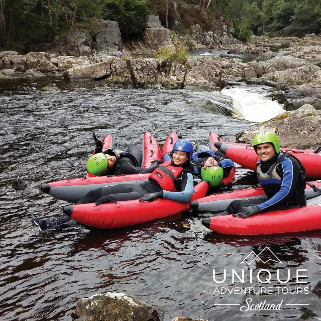 River Bugging on the River Tummel with Unique Adventure Tours Scotland