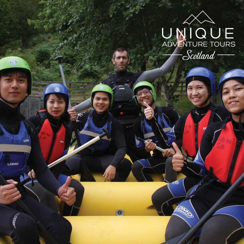 White water rafting clients on the river tummel scotland