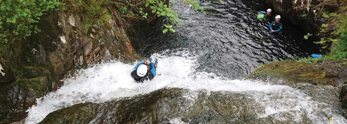 grey mares tail canyoning kinlochleven with unique adventure tours scotland