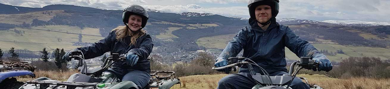 Unique Adventure Tours Scotland Quad Bike Treks on hill trails and woodland