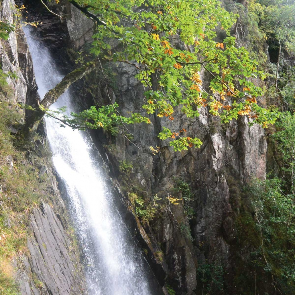 Waterfall views on the Via Ferrata in Kinlochleven with Unique Adventure Tours Scotland