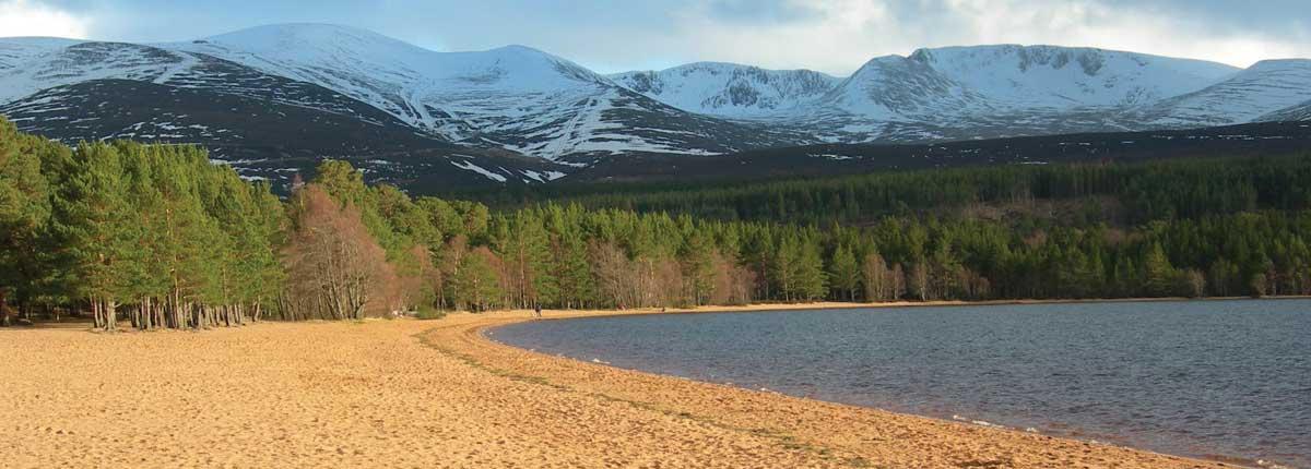 Loch Morlich walking trails and loch views