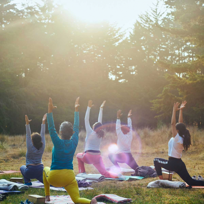 Outdoor yoga during well-being tour in Scotland