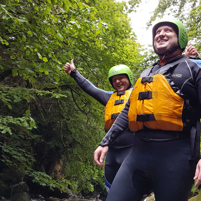 Canyoning in natural environments during well-being adventure tour